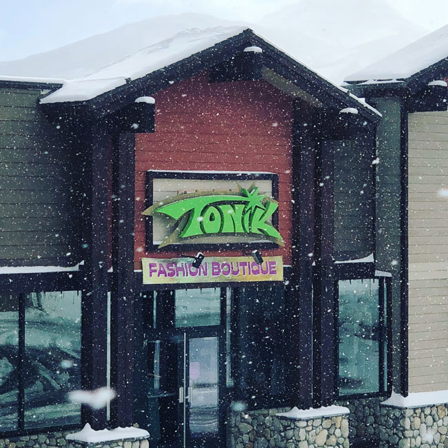 Storefront of Tonik in Mammoth Lakes CA in snow storm